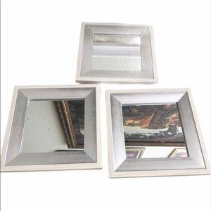 Set of 3 small square mirror decor silver white
